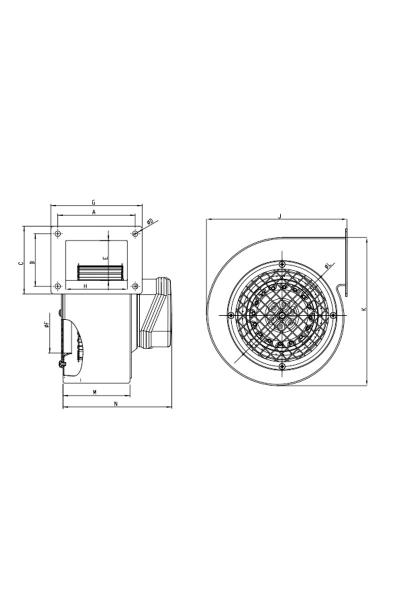 Bahçıvan BDRS 160-60 200W 600m3/h Monofaze Sac Gövdeli Öne Eğimli Salyangoz Radyal Fan - Thumbnail