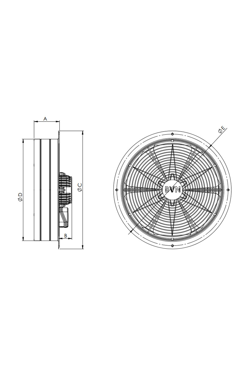 Bahçıvan BSM 450 200W 5000m3/h Monofaze Sanayi Tipi Aspiratör
